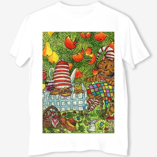 Футболка «Лис и кот пьют чай в саду»