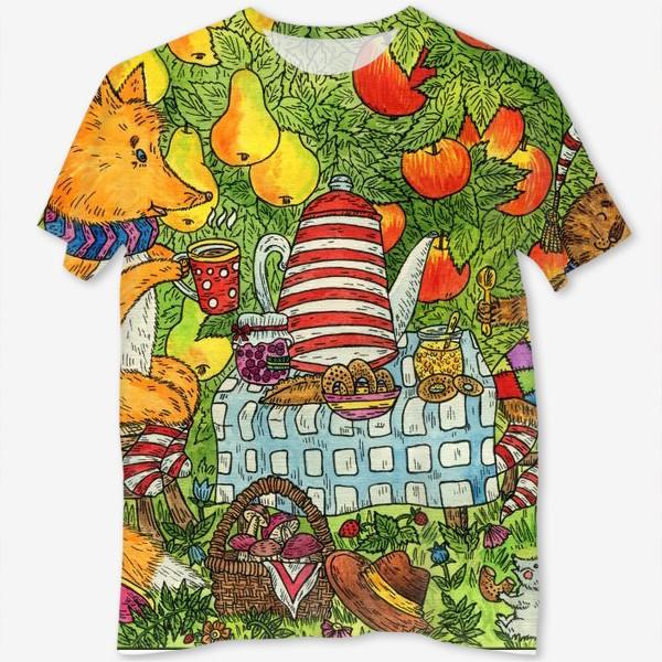 Футболка с полной запечаткой «Лис и кот пьют чай в саду»