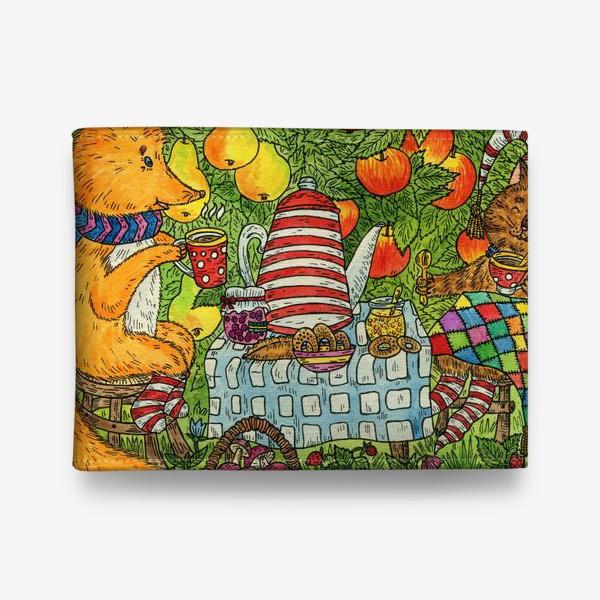Кошелек «Лис и кот пьют чай в саду»