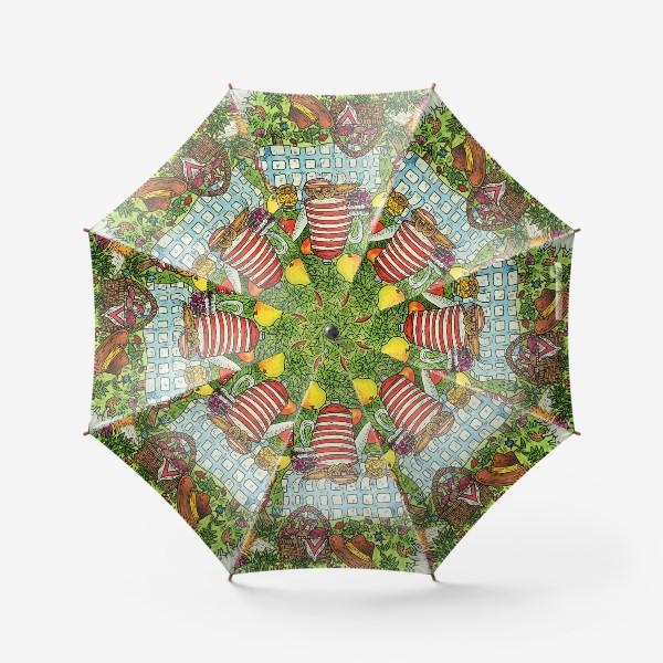 Зонт «Лис и кот пьют чай в саду»