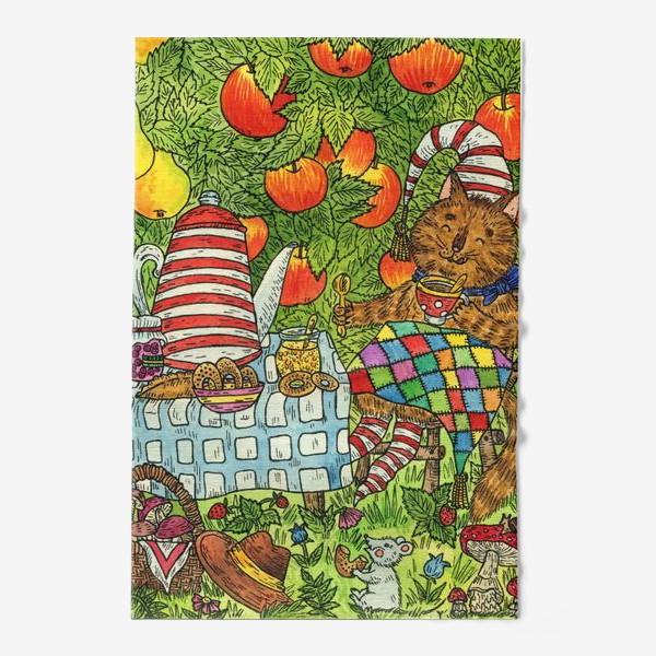 Полотенце «Лис и кот пьют чай в саду»