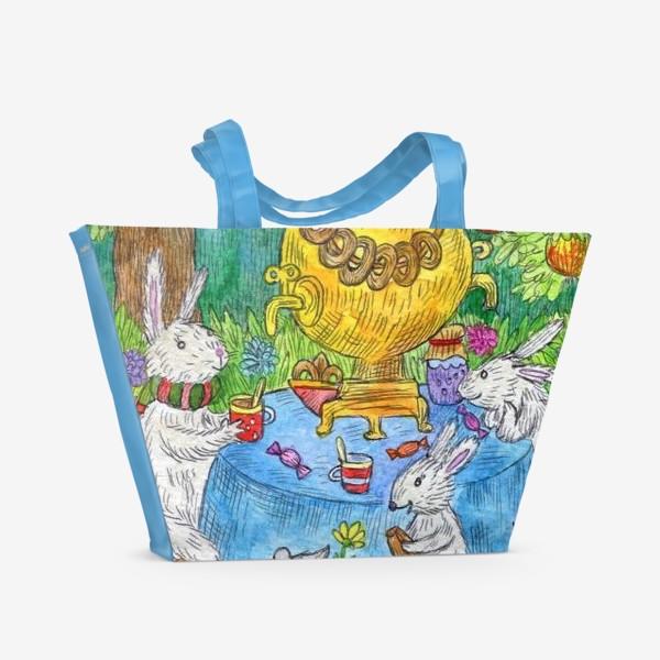 Пляжная сумка «Чаепитие семьи Зайцев»