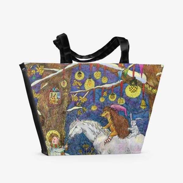 Пляжная сумка «Рождество в сказочном лесу»