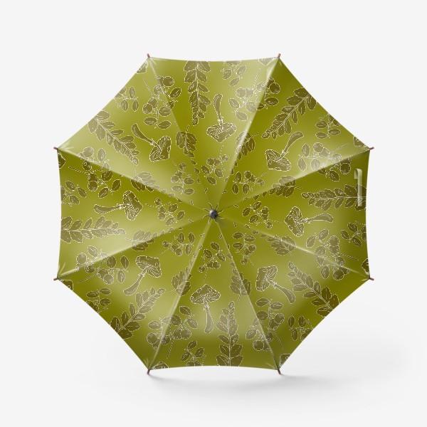 Зонт «папоротник и грибы»