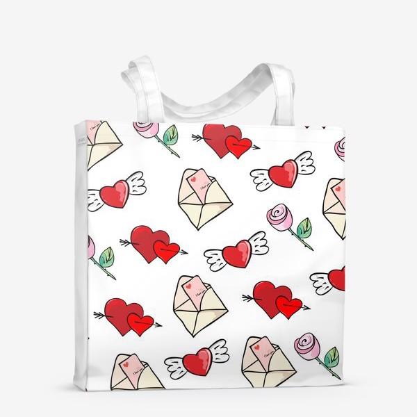 Сумка-шоппер «14 февраля. Сердечки и валентинка»