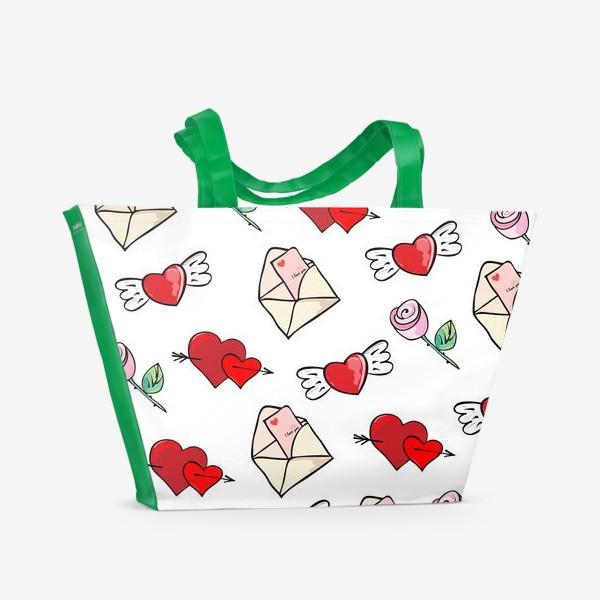 Пляжная сумка «14 февраля. Сердечки и валентинка»