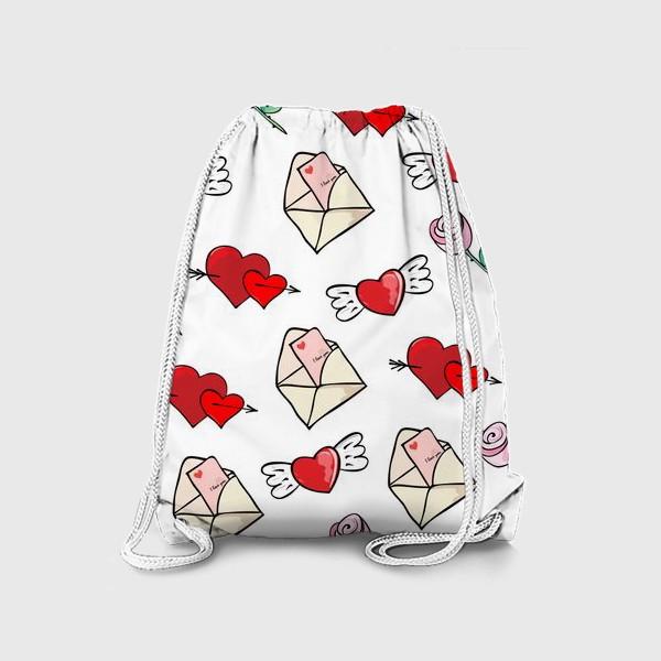 Рюкзак «14 февраля. Сердечки и валентинка»