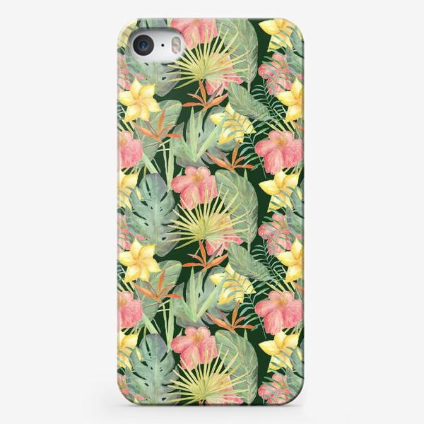 Чехол iPhone «Тропический лес. Листья и цветы джунглей»