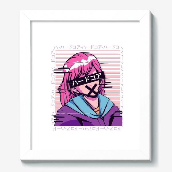 Картина «Аниме девочка в стиле Glitch»