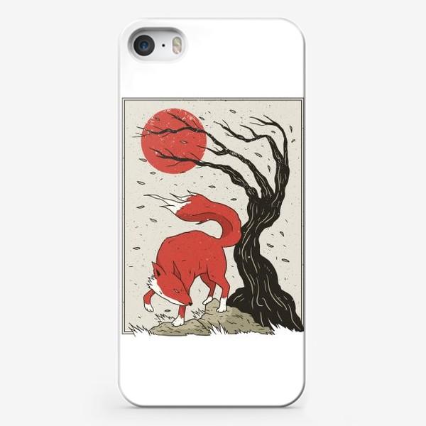 Чехол iPhone «Пейзаж с лисой в японском стиле»