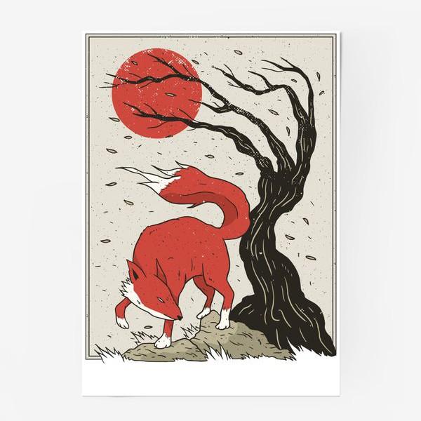 Постер «Пейзаж с лисой в японском стиле»