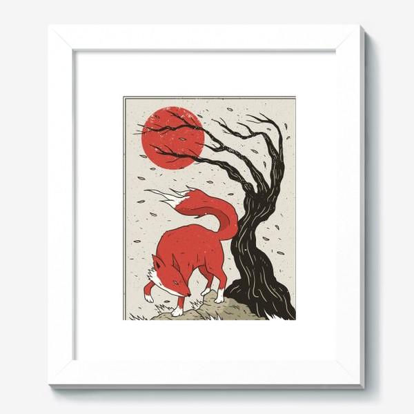 Картина «Пейзаж с лисой в японском стиле»