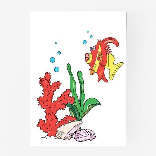 Постер «красная рыбка и кораллы»