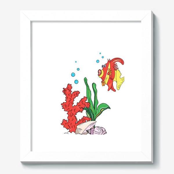 Картина «красная рыбка и кораллы»