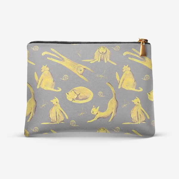 Косметичка «Желтые котики на сером фоне Паттерн Узор с котами»