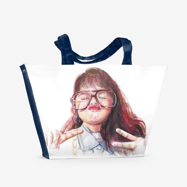 Пляжная сумка «девочка в очках»