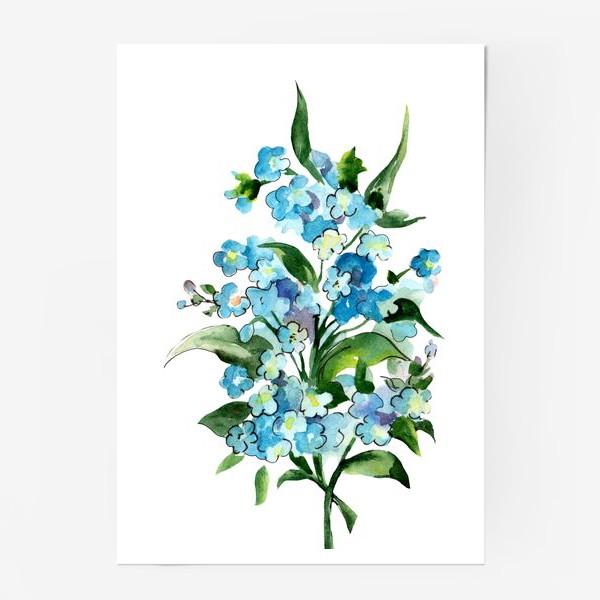 Постер «Букет синих цветов»