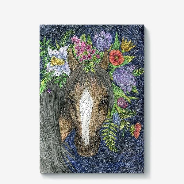 Холст «Лошадь и цветы»