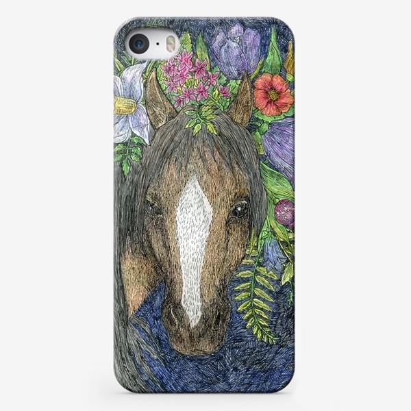Чехол iPhone «Лошадь и цветы»