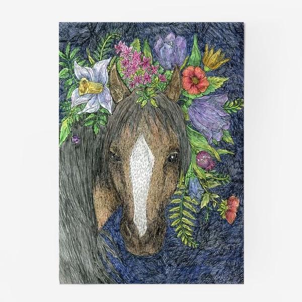 Постер «Лошадь и цветы»