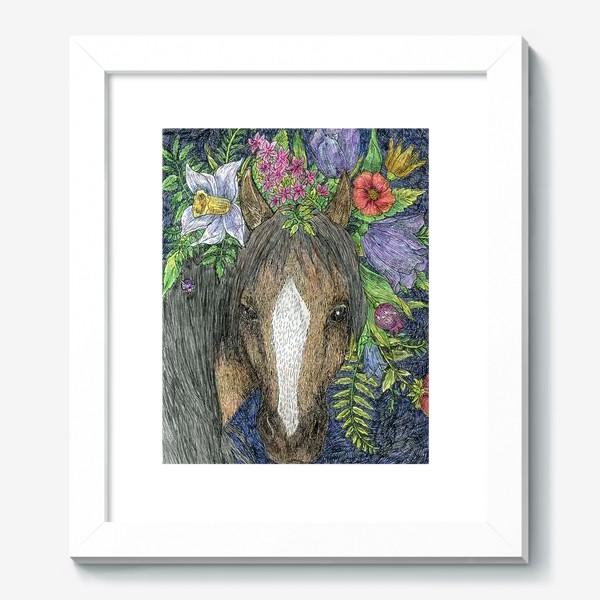 Картина «Лошадь и цветы»