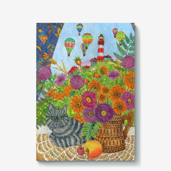 Холст «Серый кот и букет цветов»