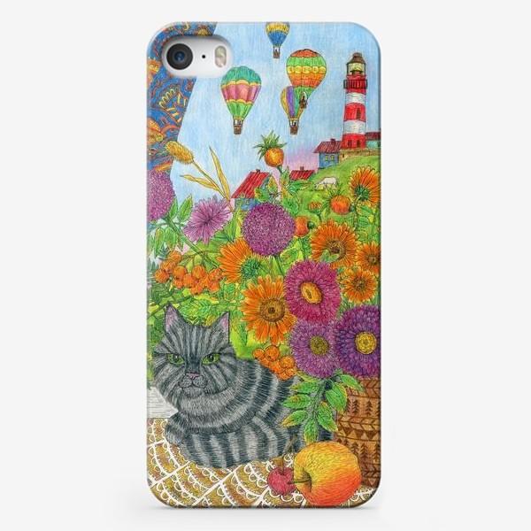 Чехол iPhone «Серый кот и букет цветов»