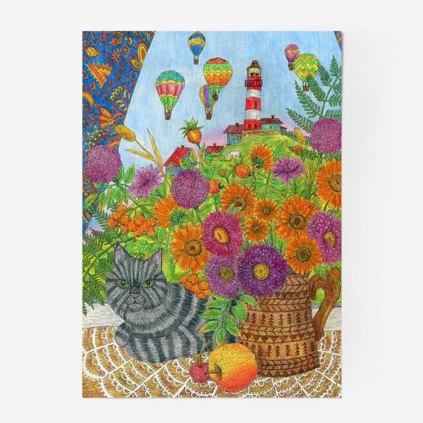 Постер «Серый кот и букет цветов»