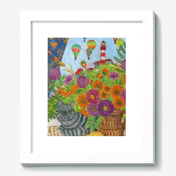 Картина «Серый кот и букет цветов»