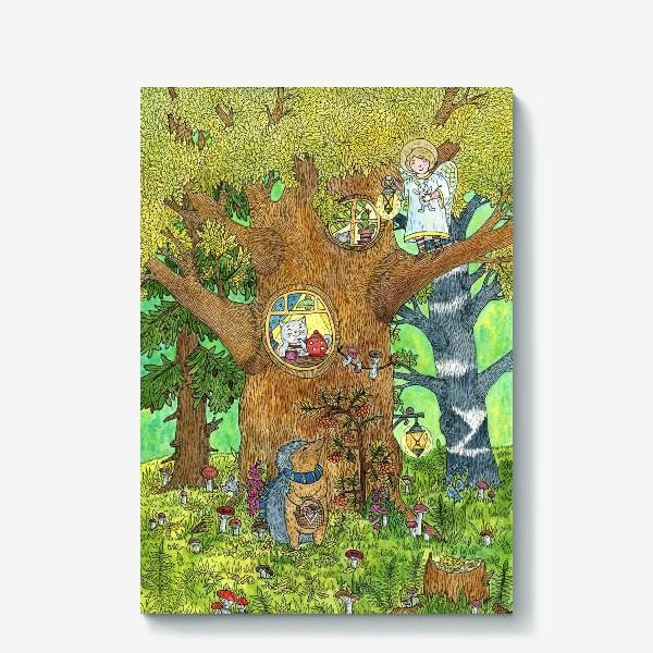 Холст «Маленький ежик в волшебном лесу»
