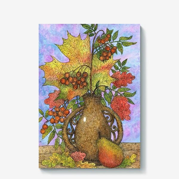 Холст «Осенний букет из листьев и ягод»