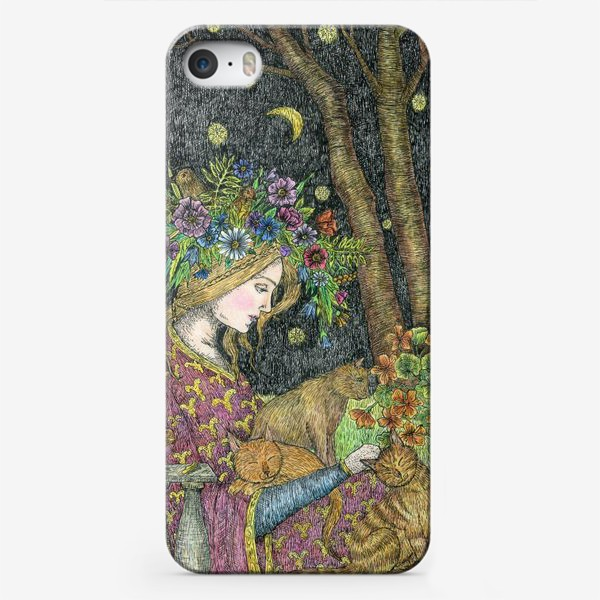 Чехол iPhone «Лесная нимфа и котики»