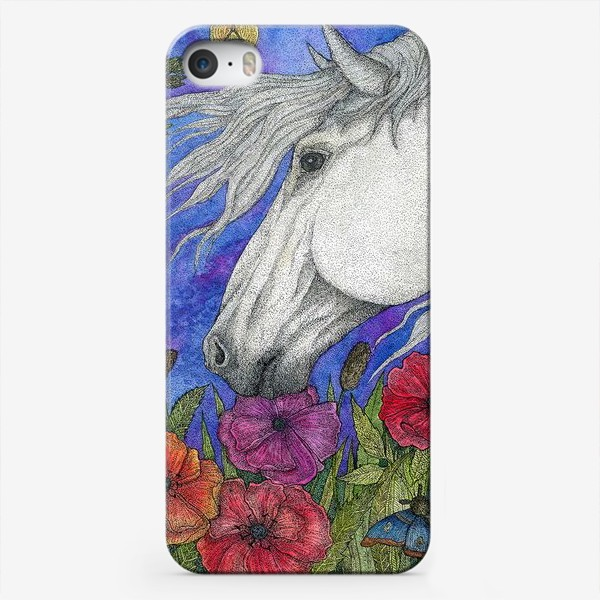 Чехол iPhone «Белая лошадь и маки»