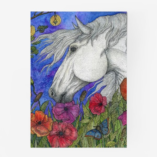 Постер «Белая лошадь и маки»