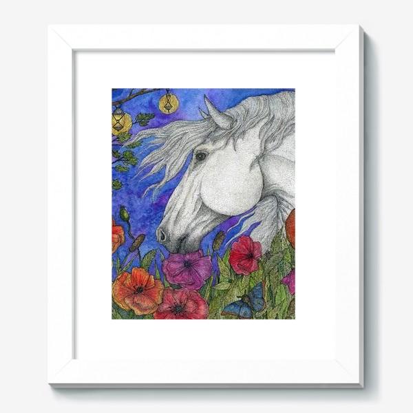 Картина «Белая лошадь и маки»
