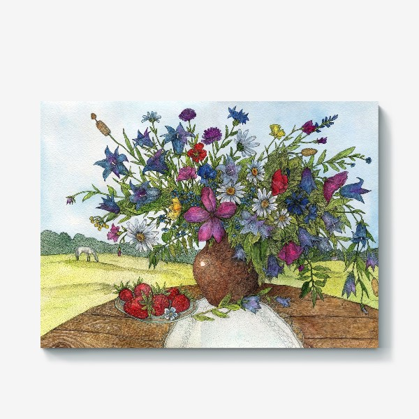 Холст «Большой букет полевых цветов»