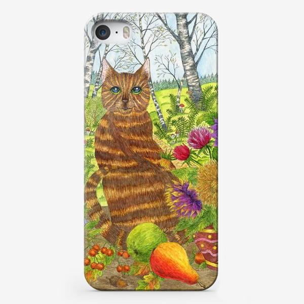 Чехол iPhone «Кошка и букет георгинов»