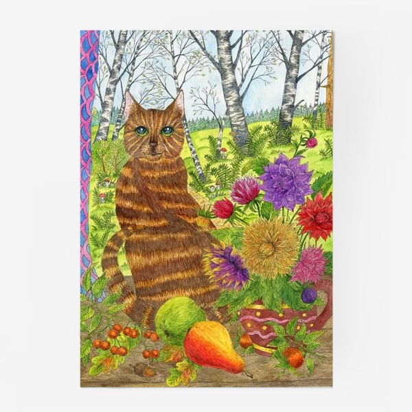 Постер «Кошка и букет георгинов»
