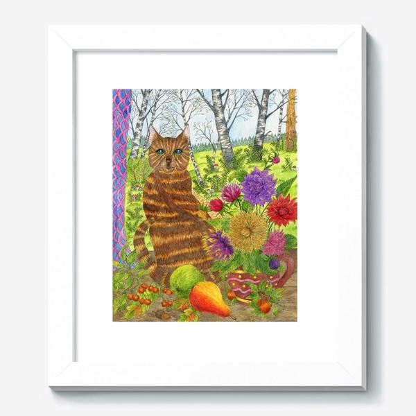 Картина «Кошка и букет георгинов»