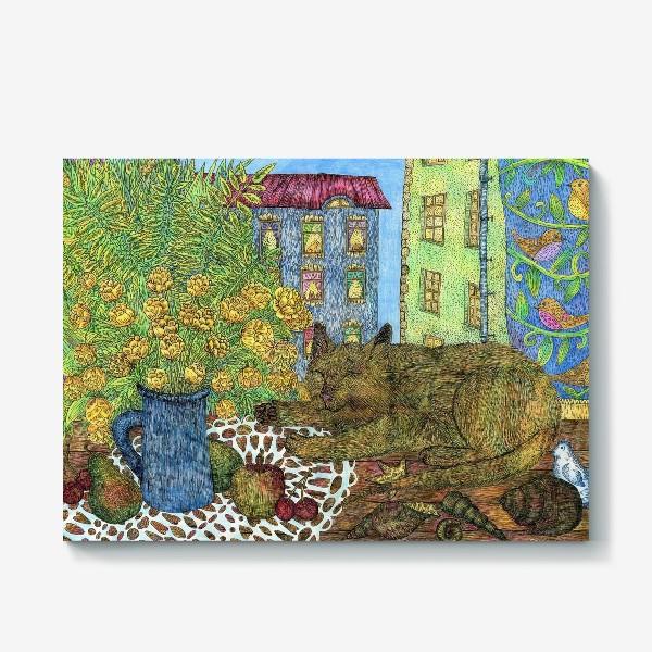 Холст «Кот и весенние цветы»