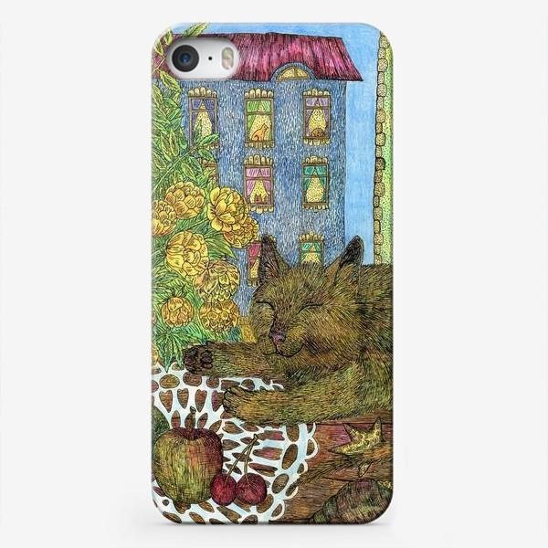 Чехол iPhone «Кот и весенние цветы»