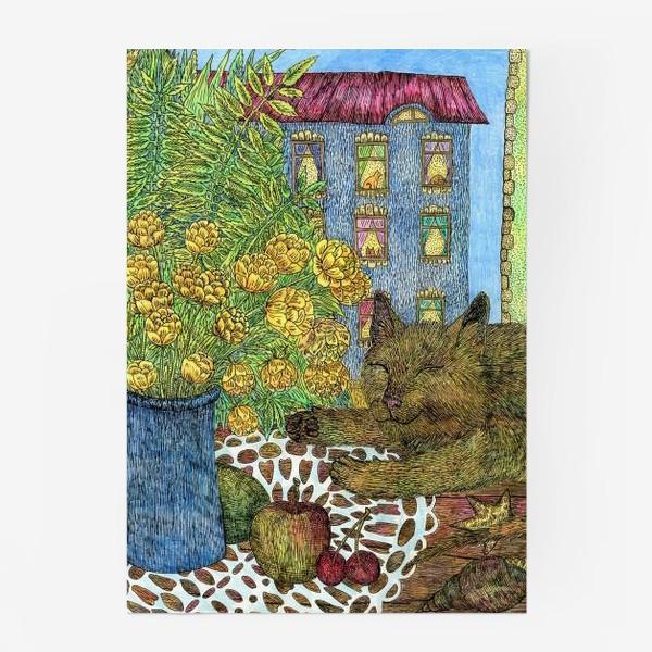 Постер «Кот и весенние цветы»