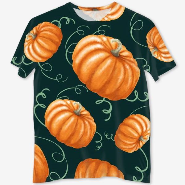 Футболка с полной запечаткой «оранжевые тыквы»