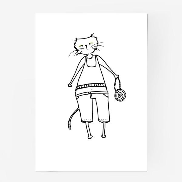 Постер «Гламурное кисо. Модная, стильная кошка»