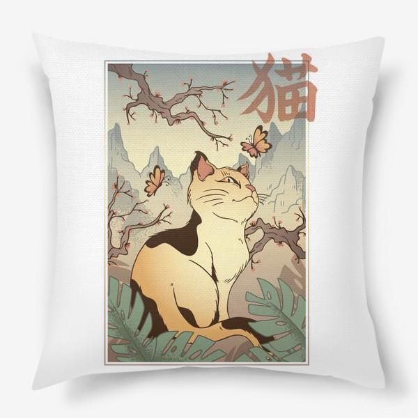 Подушка «Пейзаж с котом в японском стиле»