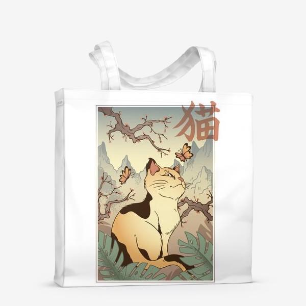 Сумка-шоппер «Пейзаж с котом в японском стиле»