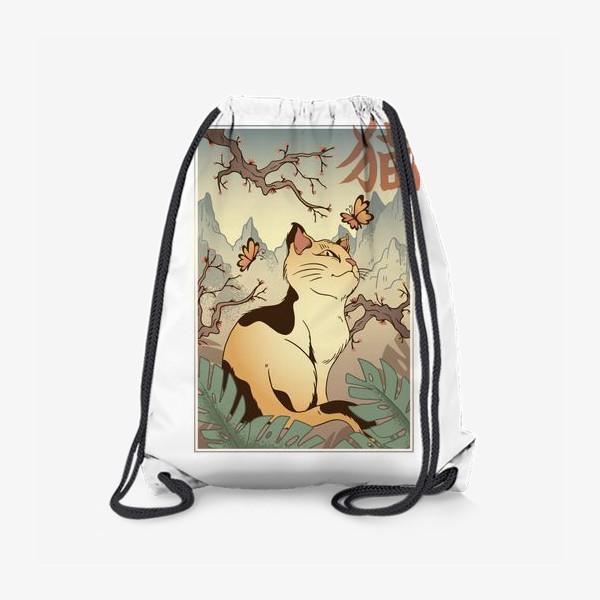 Рюкзак «Пейзаж с котом в японском стиле»