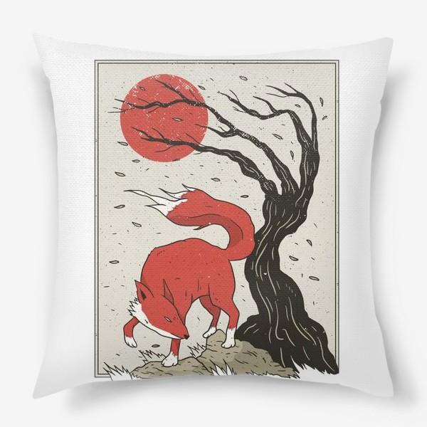 Подушка «Пейзаж с лисой в японском стиле»