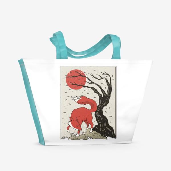 Пляжная сумка «Пейзаж с лисой в японском стиле»