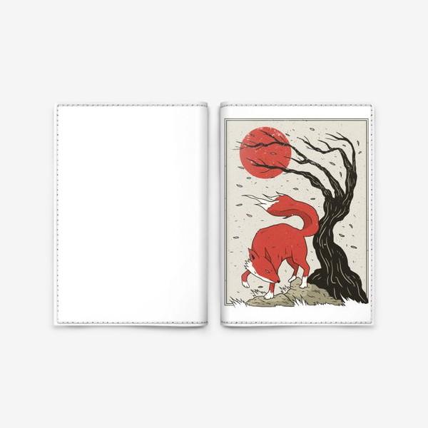Обложка для паспорта «Пейзаж с лисой в японском стиле»